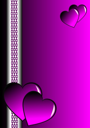 mauve: A purple and silver valentines card with mauve hearts and room for text