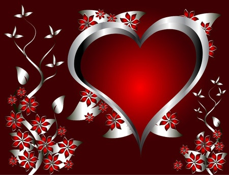 velvet ribbon: A red hearts Valentines Day Background with silver hearts and flowers on a red graduatedl background Illustration
