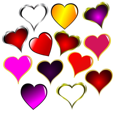 A vector set of valentines hearts clip art isolated on white to use in your designs