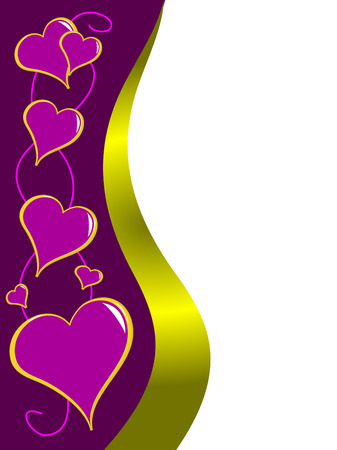 A purple and gold valentines card with mauve hearts and room for text Vector