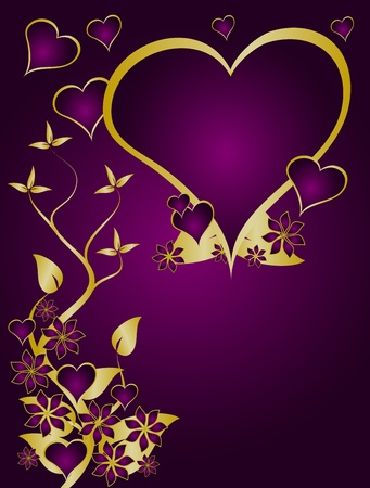 A valentines vector illustration with a heart shaped frame with room for text on a gold floral background Vector