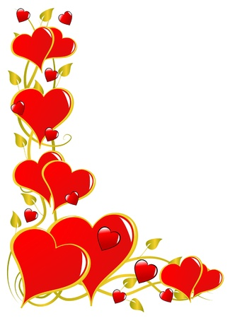A vector background with a series of hearts isolated on white with room for text Vector