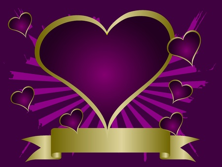 A grunge valentines vector illustration with a purple and gold  heart shaped frame with room for text on a mauve grunge  background Vector