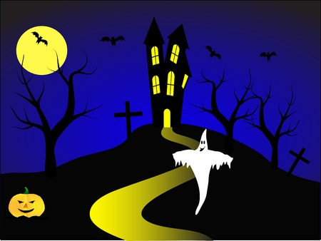 A halloween vector illustration with a ghost and a pumpkin in front of a haunted house Stock Vector - 8395176