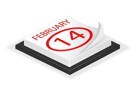february 14th: A vector illustration of a desk calender turned to valentines day February 14th saved as EPS 10