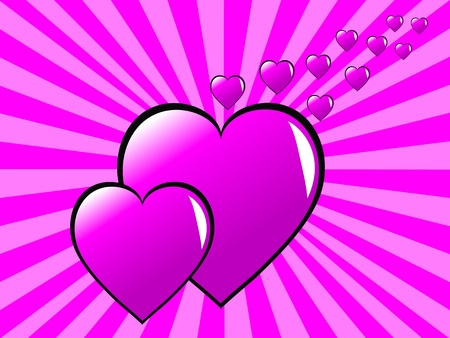 Two pink hearts on a two tone sunburst effect pink background