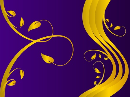 A formal floral background vector with a gold formal floral design on a darker purple background. Room for text Vector