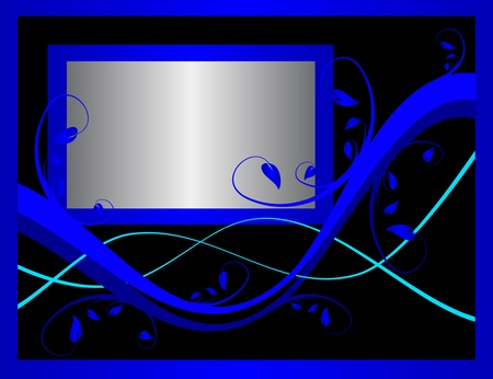 formal blue: A blue formal floral background vector incorporating a silver frame on a black background . Room for text
