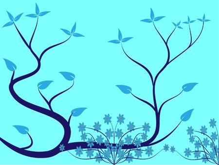 A cyan floral background illustration in landscape orientation with a cyan floral design on the left hand side with room or text Vector