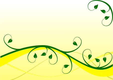 rown: A yellow floral background with dark blue leaves on a lighter  graduated background