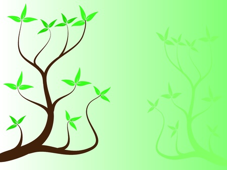 A green floral tree background vector illustration with room for text Stock Vector - 8395353