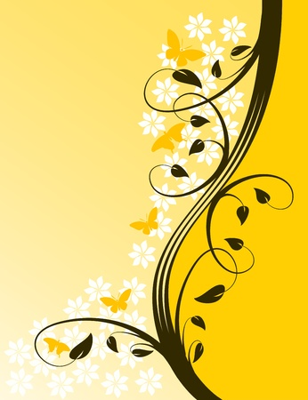 An abstract vector illustration with a floral design in shades of orange on a lighter graduated base with room for text