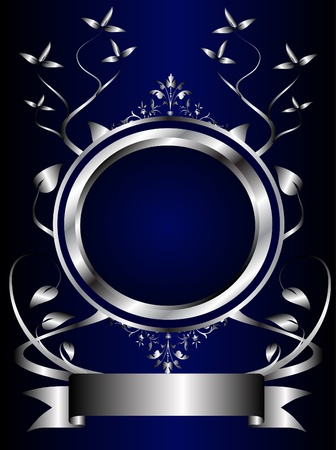 A Silver Floral Design With Room For Text On Royal Blue Background Stock Vector
