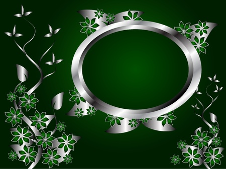 A green and silver floral design with room for text on a rich green and black background Vector