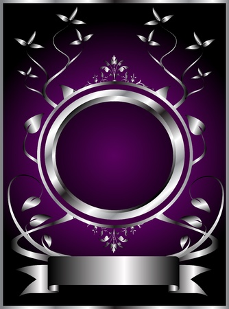 A silver floral design with room for text on a rich deep purple background Stock Vector - 8395418