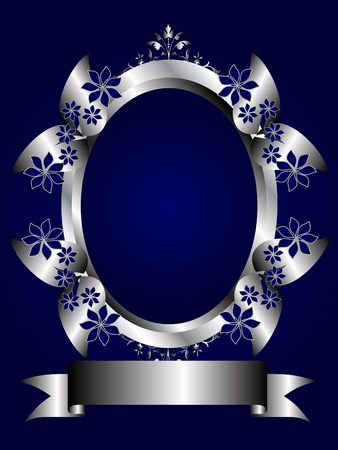 room for text: A silver floral design with room for text on a royal blue background Illustration
