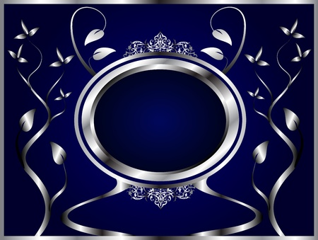 twist: A silver floral design with room for text on a royal blue background Illustration