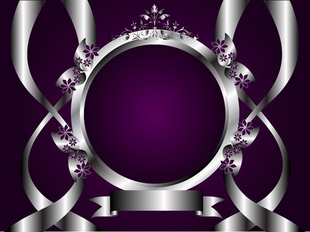 A silver floral design with room for text on a rich deep purple background