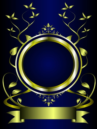 royal: A gold floral design with room for text on a royal blue background