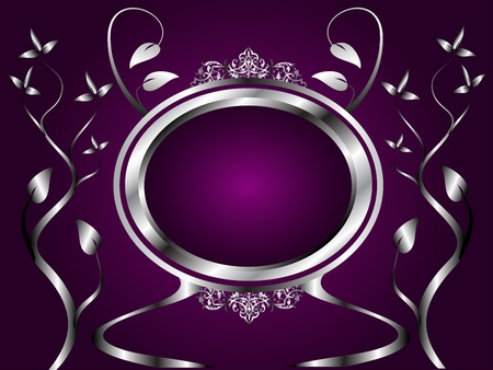 room for text: A silver floral design with room for text on a rich deep purple background