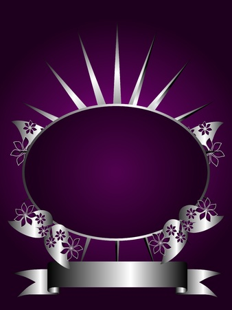 A silver floral design with room for text on a rich deep purple background Stock Vector - 8395425