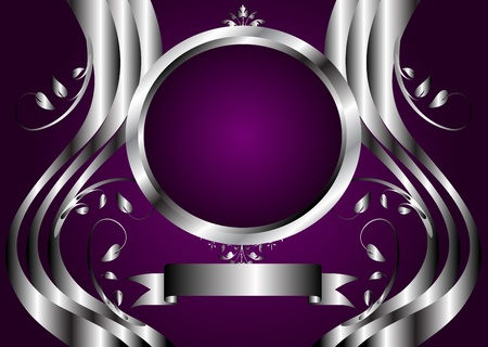 A silver floral design with room for text on a rich deep purple background Vetores