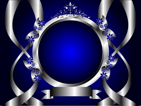 A silver floral design with room for text on a royal blue background Vector