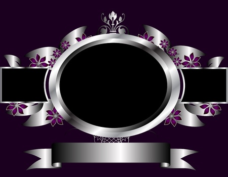 black and silver: A silver floral design with room for text on a rich deep purple background