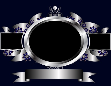 royal: A silver floral design with room for text on a royal blue background Illustration