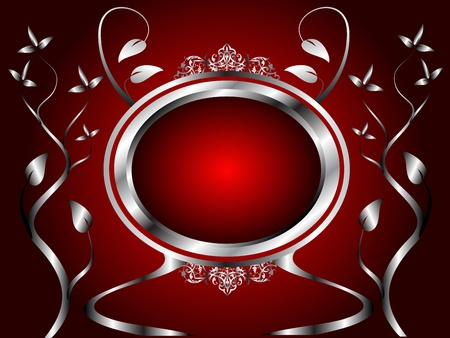 silver: A silver floral menu or background template design with room for text on a rich red background