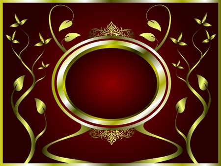 A gold floral design with room for text on a deep red background Vector