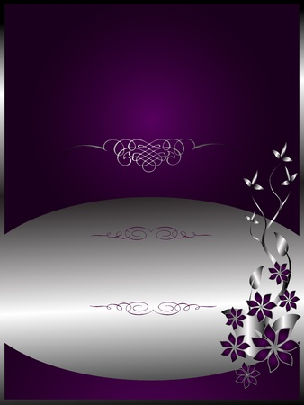 A silver floral menu template design with room for text on a rich purple background
