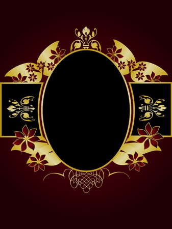 A gold floral design with room for text on a rich red and black background Vector