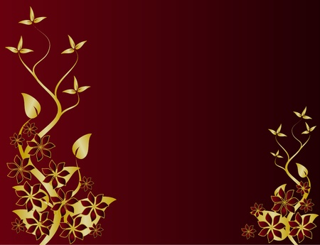 A gold floral design with room for text on a rich red background