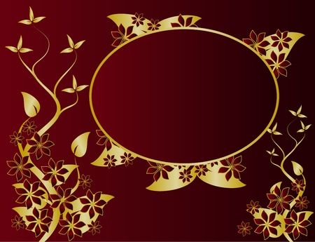 A gold floral design with room for text on a rich red background Vector