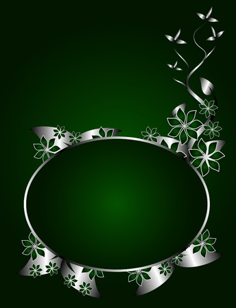 twist: A green and silver floral design with room for text on a rich green background