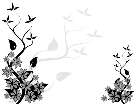 An abstract black and white floral design with a stylized tree on the left with room for text Stock Vector - 8420621
