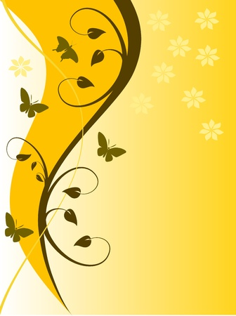An abstract   illustration in landscape orientation with all floral design in shades of orange on a lighter graduated base with room for text Vector