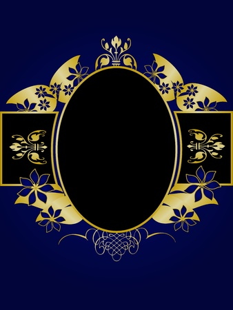 royal: A gold floral design with room for text on a royal blue and black background Illustration