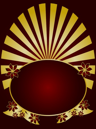 A gold floral design with a gold fan effect and room for text on a rich maroon background Vector