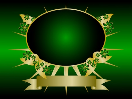 A gold floral design with room for text on a rich green and black background