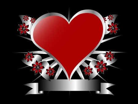 A gothic silver and red floral hearts design with room for text on a black background Vector