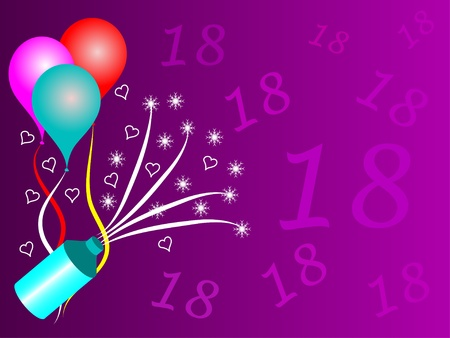 An eighteenth birthday party vector illustration with room for text Vector