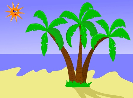 castaway: An illustration of a  a desert island with palms against a blue sky with a smiling sun