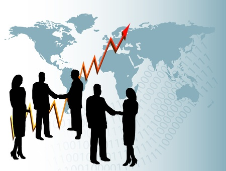 A group of business people in silhouette shaking hands in front of a graph showing a year on year and a map of the world Vector