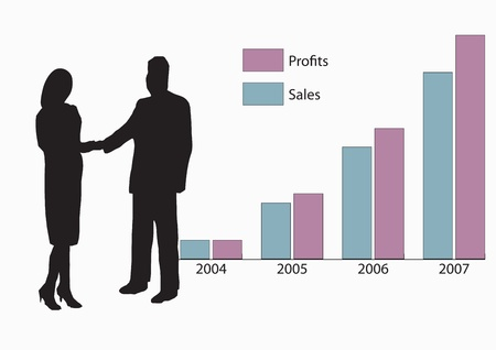 A business man and woman in silhouette shaking hands in front of a graph showing year on year increasing growth and sales. Vector
