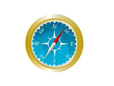 navigational: A vector representation of a navigational compass, with an inlay of the globe