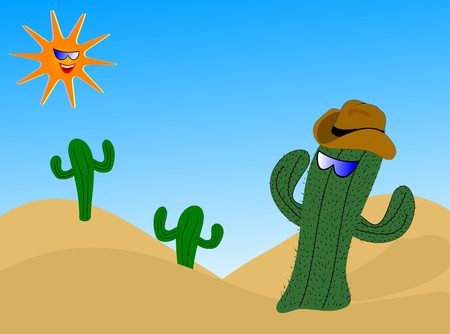 saguaro: A cartoon cactus wearing a cowboy hat with a laughing sun wearing sunglasses Illustration