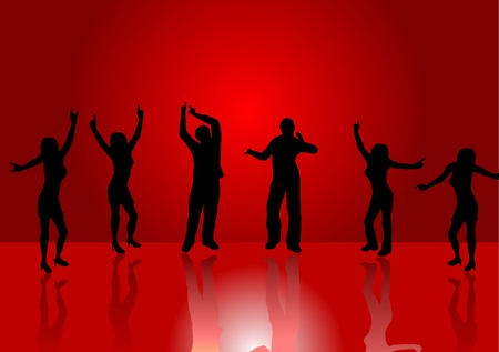 A background illustration of a group of dancers in silhouette on a red background with a center highlight and reflections on the floor Vector