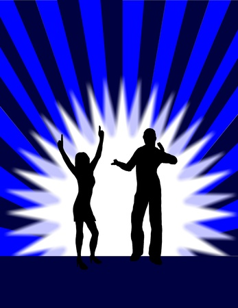 A background illustration of a group of dancers in silhouette on a blue background with a center highlight and  sunbust effect lighting Vector